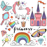 Magic colorful collection. Vector magic set with castles, unicorn, rainbow rand other fairy elements. Set of stickers, pins, rpatches for your design Royalty Free Stock Image