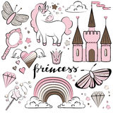 Magic colorful collection. Vector magic set with castles, unicorn, rainbow rand other fairy elements. Set of stickers, pins, rpatches for your design Stock Photo