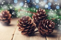 Magic composition with pine cones and fir tree branch on rustic wooden table. Christmas card. Snow effect. royalty free stock photography