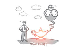 Magic concept. Hand drawn isolated vector. Magic concept. Hand drawn lamp of wishes. Genie coming out of the bottle isolated vector illustration Royalty Free Stock Photos