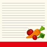 Magic Cookbook Vector illustration, recipe for soup with vegetables. Interesting menu design Stock Photo
