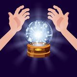 Magic crystal ball fortune, open hands, mistery, shining, magic, predictions, sphere, light effects, glow, vector. Magic crystal ball shining, open hands, magic stock illustration