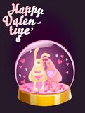 Romantic Happy Valentines Day card. Magic crystal ball with two rabbits and small pink hearts inside. Vector illustration. Magic crystal ball with two rabbits Stock Images