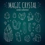 Magic crystal hipster style hand drawn vector set Royalty Free Stock Images