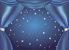 Magic curtain blue. Blue curtain opening a view of a starry night Royalty Free Stock Photography