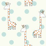 Magic cute giraffe. Cute Hand Drawn seamless pattern royalty free illustration