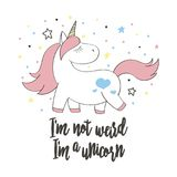 Magic cute unicorn in cartoon style for cards, posters, t-shirt prints, textile design stock illustration
