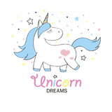Magic cute unicorn in cartoon style. Doodle unicorn for cards, posters, t-shirt prints, textile design royalty free illustration