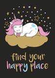 Magic cute unicorn in cartoon style with hand lettering Find your happy place. stock illustration