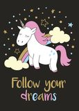 Magic cute unicorn in cartoon style with hand lettering Follow your dreams. vector illustration