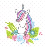Magic cute unicorn. With flowers. Vector greeting card Stock Image