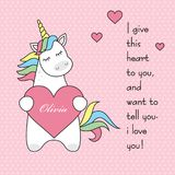Magic cute unicorn with heart, congratulations with Valentine`s day with an inscription, flat vector illustration royalty free illustration