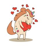 Magic cute unicorn with heart. Happy Valentine`s Day card. Dream symbol. Design for children. T-shirt graphics. Illustration for fashion print, poster stock illustration