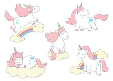 Magic cute unicorns set in cartoon style. Doodle unicorns for cards, posters, t-shirt prints royalty free stock photo
