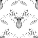Magic deer with arrows seamless pattern in zentangle style. Freehand ethnic Xmas sketch for adult coloring book. Ornamental artistic vector illustration. New stock illustration