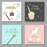 Magic design cards set with unicorn, rainbow, hearts, clouds. And others elements. With golden glitter texture. Vector illustration stock illustration