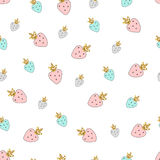 Magic design seamless pattern hand drawn colorful strawberries. With golden glitter texture. Vector illustration Stock Photos