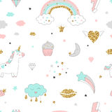 Magic design seamless pattern with unicorn, rainbow, hearts, clouds and others elements. With golden glitter texture. Vector illustration Stock Photo