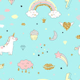 Magic design seamless pattern with unicorn, rainbow, hearts, clouds. And others elements. With golden glitter texture. Vector illustration Stock Photos