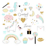 Magic design set with unicorn, rainbow, hearts, clouds and others elements. With golden glitter texture. Vector illustration Royalty Free Illustration