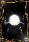 Magic, destiny and spirituality. Illustration of a man (the face isn't visible) in the dark, holding a globe of light. Frame of golden ribbons and stars Stock Image