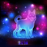 Magic dog with 2018 New Year inscription on the night sky with lights and stars. Dog silhouette hologram Royalty Free Stock Photos