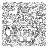 Magic Doodle Cartoon. Cartoon pattern with magic and fairy tale objects on abstract background. Black and white coloring page royalty free illustration
