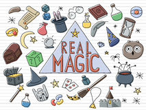 Magic doodle set. Set of hand drown magic objects. Doodle vetor design Royalty Free Stock Photo