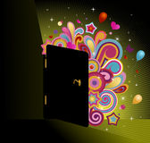 Magic door. Illustration of a door - an welcoming entrance to fun, joy and happiness stock illustration