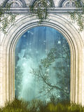 Magic door. In the forest with stars Royalty Free Stock Images