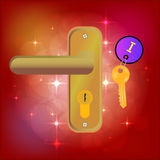 The Magic Door. Golden Key . Keychain . Bright background with highlights. Fairy tale . Stock Images