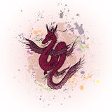 Magic dragon on abstract ink background Royalty Free Stock Photos