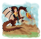 Magic dragon and brave prince. Vector illustration Royalty Free Stock Photography