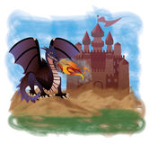 Magic dragon and old castle Stock Photo