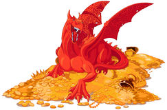Magic Dragon on the Pile of Gold. Illustration of magic dragon on the pile of gold Royalty Free Stock Photos