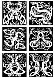 Magic dragons celtic knot patterns in tribal style Stock Photography