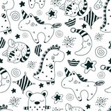 Magic dreams. Pattern. Children`s pattern with different cute characters royalty free illustration