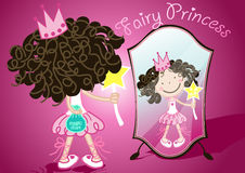 Magic dust. Vector illustration of a girl holding a bag of magic dust looking in a mirror Stock Images