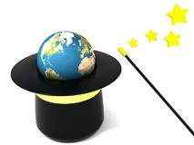 Magic earth. 3d illustration of the magic hat with earth Royalty Free Stock Photos
