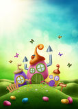 Magic easter house vector illustration
