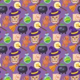 Magic vector tools magician fantasy carnival magical mystery cartoon miracle decoration seamless pattern background. Magic effect vector trick magician wand and Royalty Free Stock Images