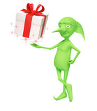 The magic elf with a gift Royalty Free Stock Image