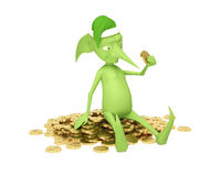 Magic elf with money Stock Images