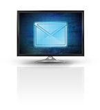 Magic email on blue new modern screen isolated on white. Illustration Royalty Free Stock Photography