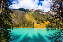 Magic Emerald Lake in the Canadian Rockies Stock Photo