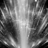Magic explosion of particles in space texture. Black and white, computer generated abstract background, 3D rendering Royalty Free Stock Photography