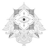 Magic eye inside flower and leaves vector. Hand drawn black and white design element with magic eye inside flower, and leaves in boho style. Isolated ornament stock illustration