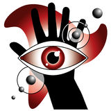 Magic eyes. Mysterius composition with hand and eyes Royalty Free Stock Image