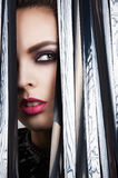 Magic eyes look beautiful with bright makeup. A girl looks through the veil Royalty Free Stock Image