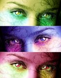 Magic Eyes. Two mystical eyes designed in several colors Royalty Free Stock Photography